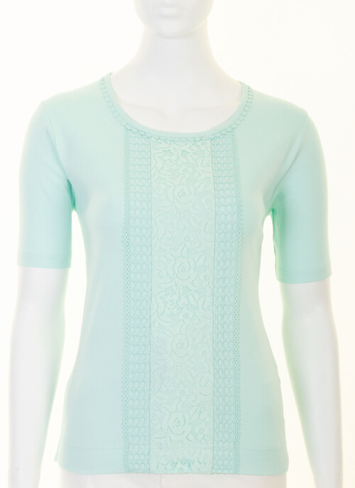 Soft Aqua Pure Cotton Lace Trim Jersey Top