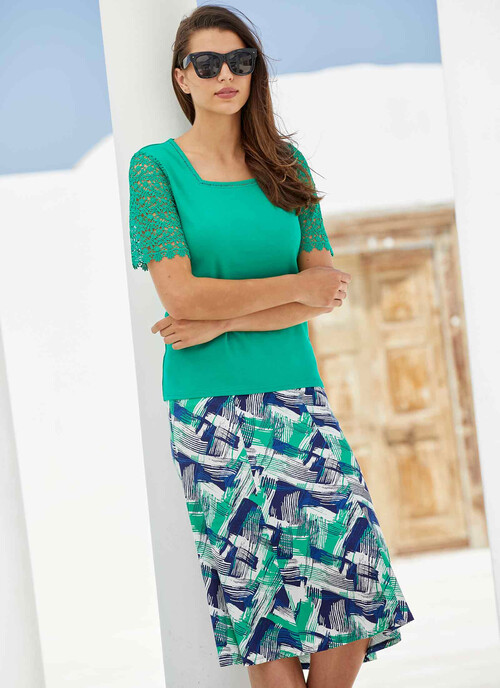 Abstract Printed Jersey Skirt 31 Inch Length