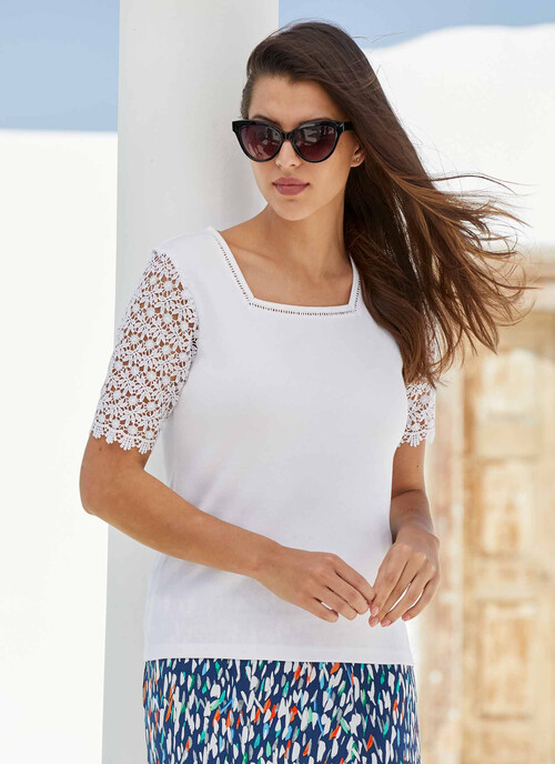 White White Lace Sleeve Top