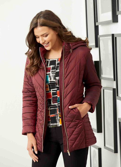 Bright Red Rich Berry Quilted Coat