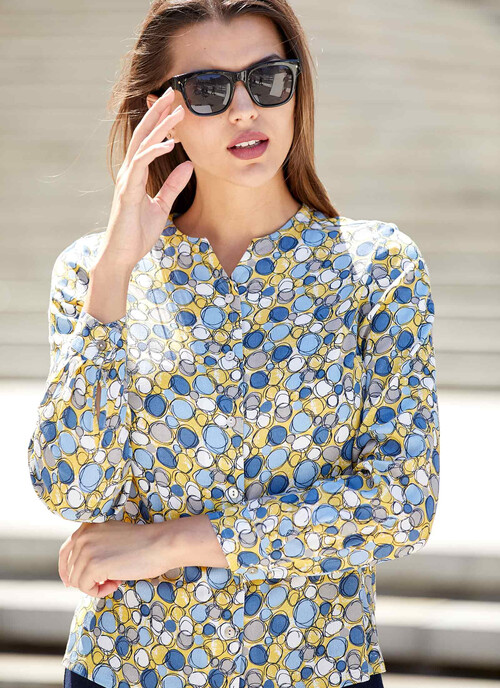 Mid Yellow Multi Abstract Printed Blouse