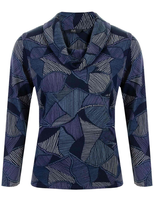 Dark Navy Brushed Printed Jersey Cowl Neck Tunic Top