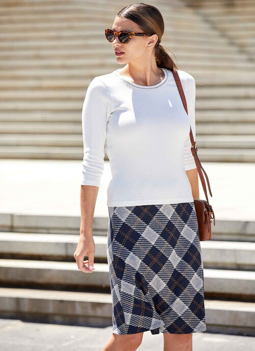 Navy Check Jersey Skirt Length 25 Inches/64 cms