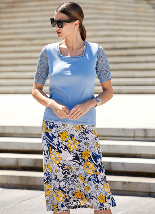 Multi Abstract Print Jersey Skirt Length 31 Inches/79 cms