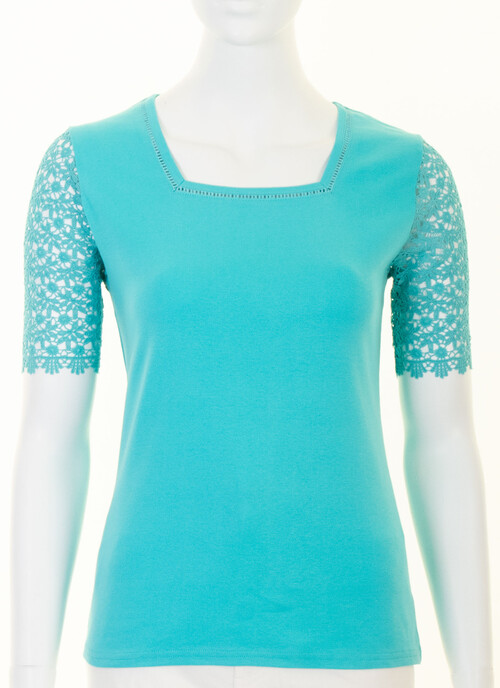 Bright Aqua Aqua Pure Cotton Lace Sleeve Jersey Top