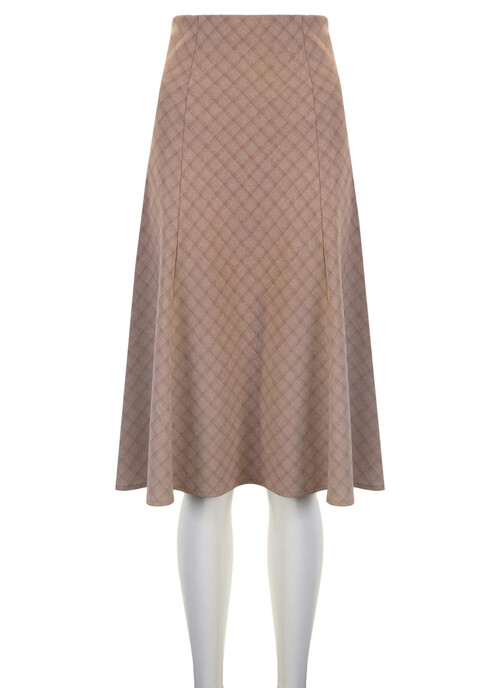Mid Beige Lined Panel Skirt Length 27 Inches