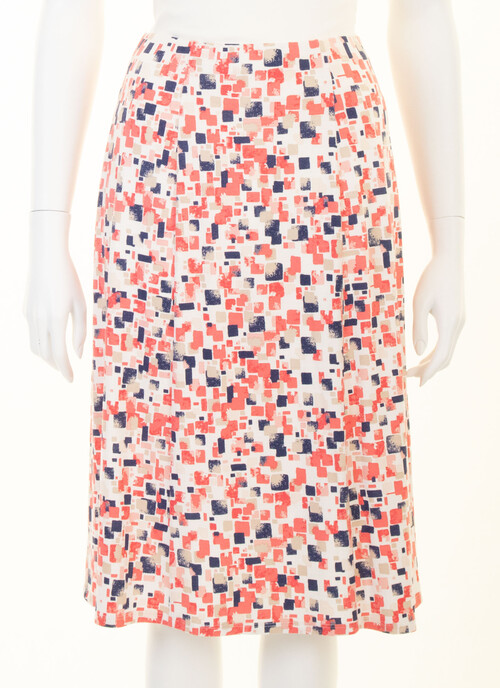 Mid Coral Petite - Lined Panelled Skirt Length 25 Inches