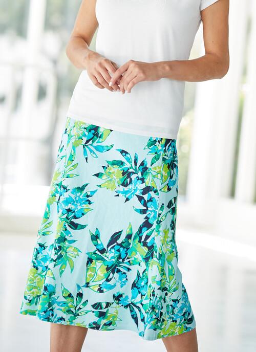 Light Aqua Soft Aqua Linen Blend Print Skirt Length 31 Inches/79cms