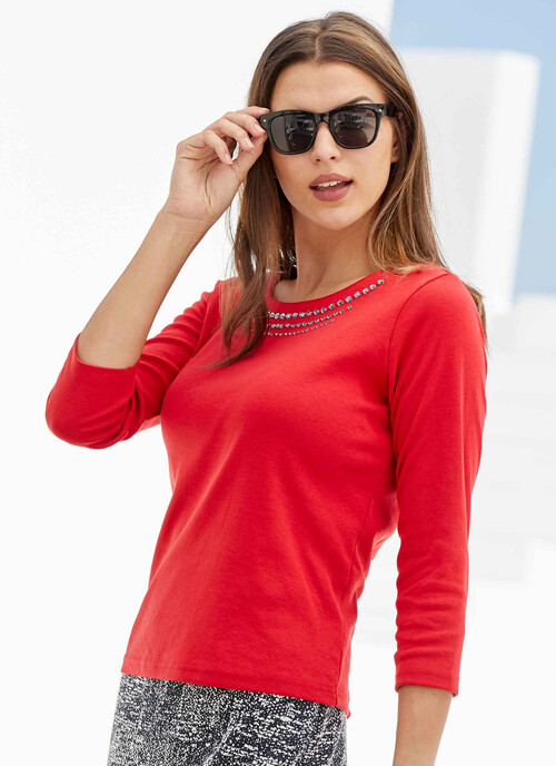 Bright Red Red Jersey Top With Diamonte Trim