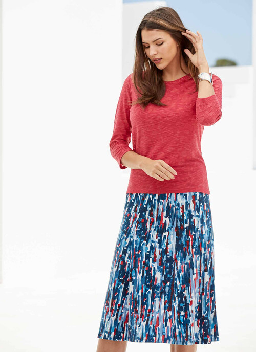 Multi Abstract Print Jersey Skirt. Length 31 Inch/79cms