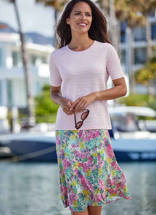 Light Pink Lined Panelled Skirt Length 27 Inches
