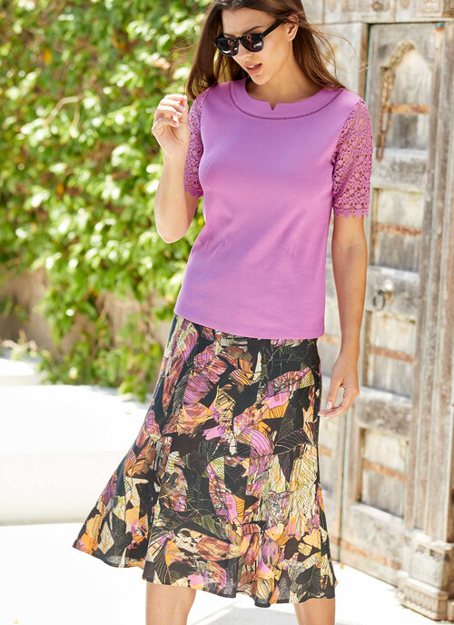 Multi Printed Linen Blend Skirt Length 31 Inches/79 Cms