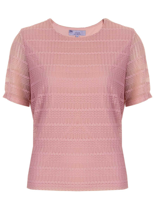 Light Pink Short Sleeve Crew Neck Top