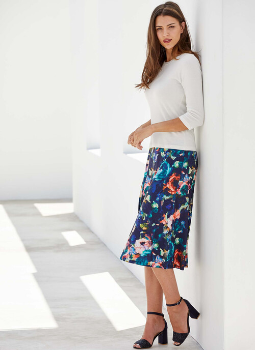 Navy Abstract Floral Print Jersey Skirt. Length 31 Inch/79cms