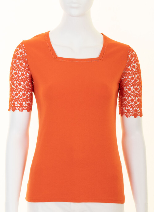 Burnt Orange Lace Sleeve Jersey Top