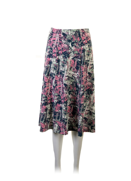 Mid Green Lined Panelled Skirt Length 27 Inches