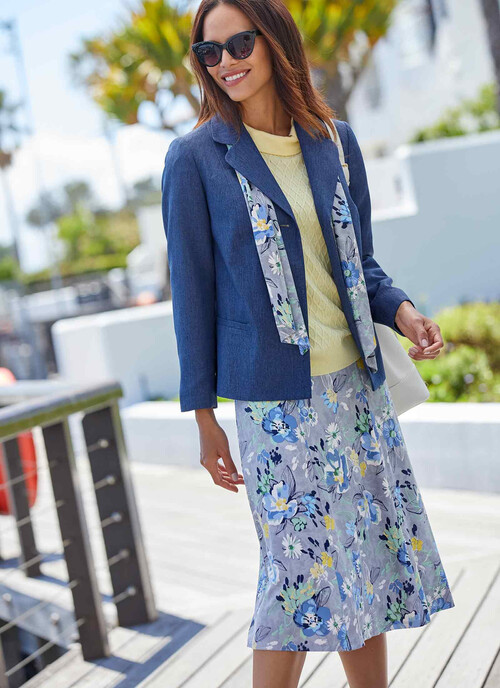 Mid Grey Print Panel Skirt Length 27 Inches