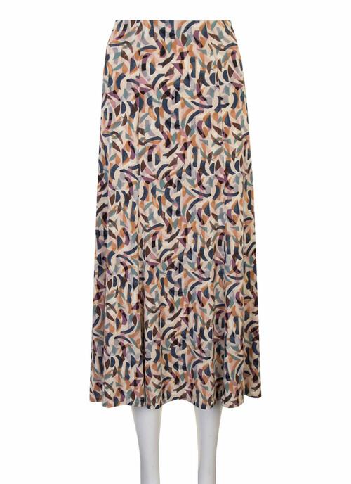 Light Cream Cream Abstract Print Jersey Skirt 31 Inch Length/79cms